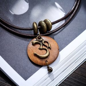 Women's OM Charm Wooden Necklace 12