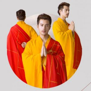 Men's Red and Yellow Style Buddhist Robe 6