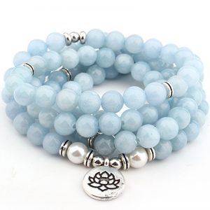 Women's Pastel Blue Natural Stone Lotus Bracelet 4