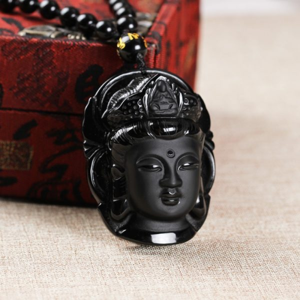 Natural Black Obsidian Buddha Necklace 1