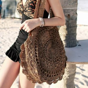 Women's Mandala Woven Straw Shoulder Bag 11