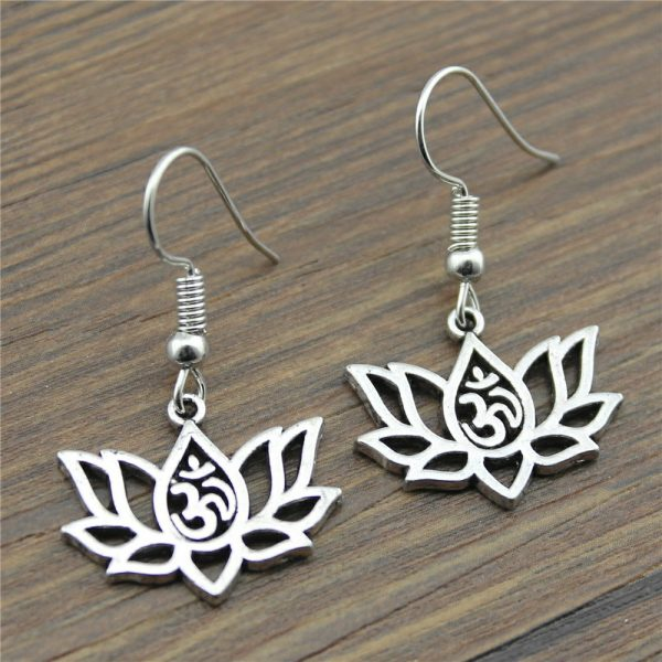 Women's Om Lotus Drop Earrings 1