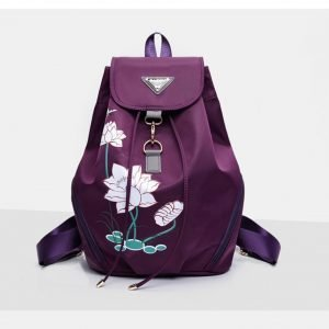 Women's Lotus Print Water Drop Backpack 9