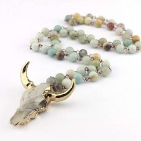 Fashion Bohemian Tribal Jewelry Long Knotted Amazonite Natural Druzy Stones Drop Pendant Stone Necklaces For Women